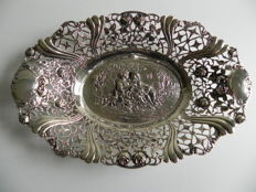 Silver open work dish, presumably Wilhelm Ludwig, Germany, Hanau, import in Sweden, 1st half of the 20th century