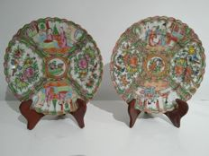 Two Famille Rose Cantonese porcelain plates – China – circa 1900