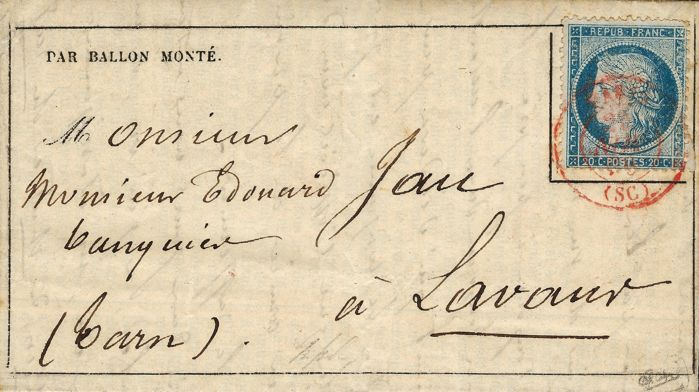 "Frankreich 1870 - ""Ville d'Orléans"" balloon mail, posted from the Tunet farm, red ""SC"" postmark. - Yvert 37"