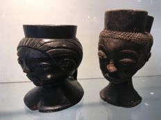 Lot of 2 ancient ritual cups carved in wood - PENDE - Former Belgian Congo