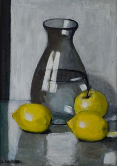 Dorothy Pulford (20th century) Still life of Fruit and jug of water..