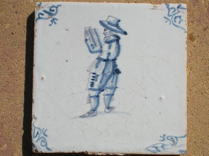 Antique tile with town-crier!  (Rare)