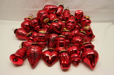 Lot of 48 Red Glass Christmas pendants.