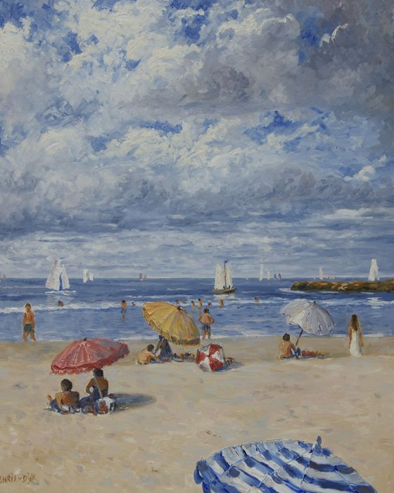 "Chris van Dijk (1952) - ""Beach on a Sunny Day with Cumulus Clouds.""."