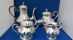 Four piece silver tableware, probably Italy, 20th century