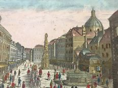 Daumont, Remondini after Kleiner - Optical prints of Piazza Navona, Rome and Trinity column, Vienna