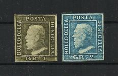 Sicily 1859 - 1 grana, light olive green, and 2 grana, light blue - Sass. Nos. 5 and 8