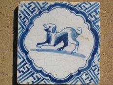 Antique tile with jumping Dog - Type Wan-li