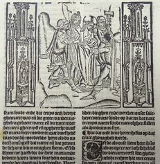 Master of Delft - Incunabula woodcut leaf from Vitae Christie with 2 woodcuts and woodcut initial - Christ Arrested ; Christ Crucified- 1488