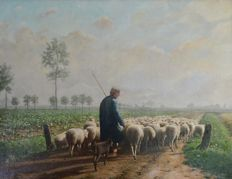 Victor Buyle (1828-1915) Shepherd with his flock of sheep.