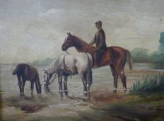 Unknown (19th/20th century) - 3 paarden en een ruiter