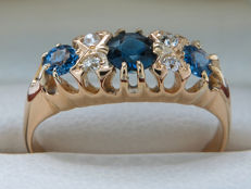 Certified gold cocktail ring with sapphire and diamonds 0.52 ct, **no reserve price**