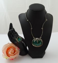 Silver 835k set with azurite / malachite stone, necklace 43.3 cm - Ring size 17/52.5