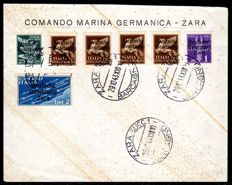 German occupation of Zara – 1943 – airmail and eilmarken on letter  Michel 23-28