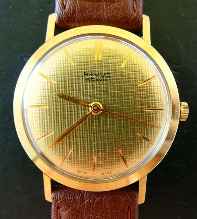 Revue Thommen 14 kt yellow gold vintage elegant men's wristwatch 1970