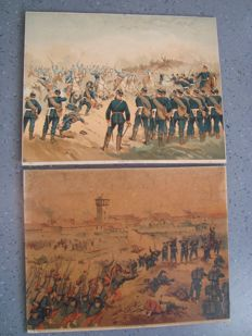 2 chromo on hardboard, Sedan 1870 and Gravelotte-1870