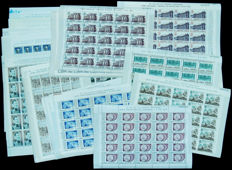 Spain 1966/1976 – 36 sheets of 25 stamps  – Edifil 1705/8, 2055/7, 2117/19, 2319/21, 2322/5, 2326/28