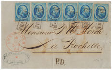 Holland, 1864 – 5 cents blue, six single stamps, used on letter from Amsterdam to La Rochelle – Unif. No. 4