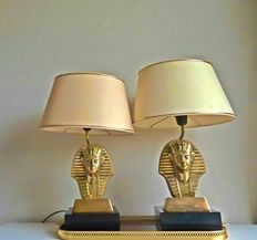 Massive Lighting - set of mid-century brass Pharaoh Tutankhamun table Lamps