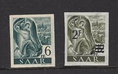 Saarland 1947 – Various images – Michel 208 I U and 229 Y I U with inspection certificate