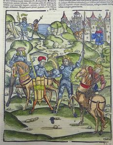 Grüninger Master - Illustrated post-incunabula leaf - Turnus triumphs in Battle from Virgil's Aeneid, hand colored - 1529