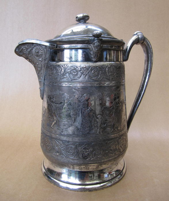 Silver plated Reed & Barton ice/water jug with several images - England - 1879