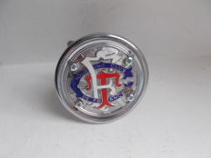 vintage    TOURING CLUB DE FRANCE   chrome and  enamel car badge with fixings stunning detail
