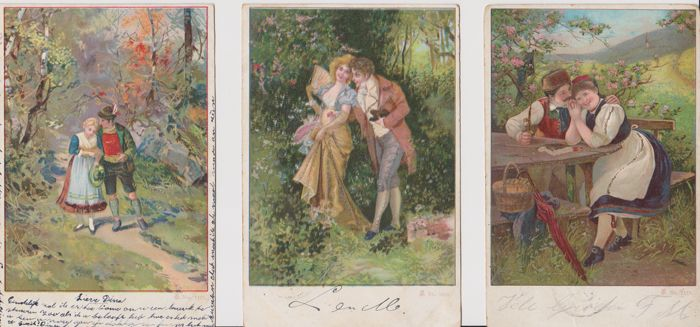 Very nice collection of 122 Fantasy Postcards, women, children, couples