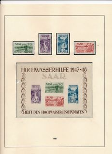 Saarland - 1947-1959 - complete collection with block 1 & 2, OPD Saarbrücken and official stamps on Leuchturm album pages