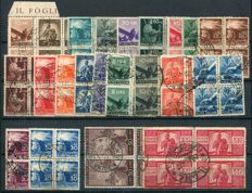 Republic of Italy 1946/1950 - Lot with Democratic series and Italy at Work series, in blocks of four