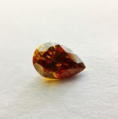 Natural fancy Deep yellowish Orange 0.60 ct Pear Shape, GIA, No Reserve Price.