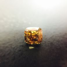 1.00 Ct. Natural Fancy Dark Brown-Greenish Yellow (Red Over Tone) ) Cushion Shape Diamond. GIA, No Reserve Price