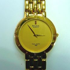 Bulova Super Seville quartz men's wristwatch gold-plated + box - top condition **no reserve price**
