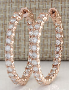 CERTIFIED 2.20 Carat Diamond 14K Solid Rose Gold Hoop Earrings - Earring Length: 26.95 millimeters *** Free Shipping *** No Reserve ***