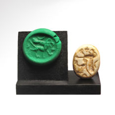 Phoenician Steatite Scaraboid with Griffin, 2 cm L