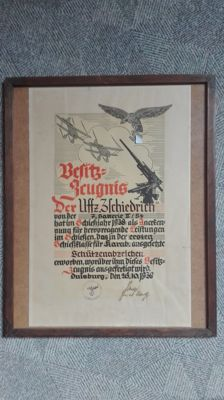 Rare original Besitz zeugnis from 1938 ... Luftwaffe 7 batterie II/54