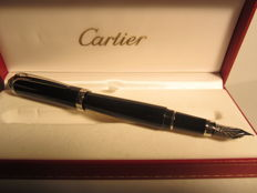 "Fine Cartier ""Roadster"" fountain pen with 18 kt white gold nib  Large size, never used"