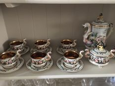 Capodimonte porcelain set for 12 people, porcelain and gold - 27 pieces