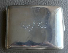 Solid silver cigarette case once owned by Captain J. Little