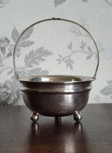 Silver plated sugar bowl with hook for the spoon on the handle