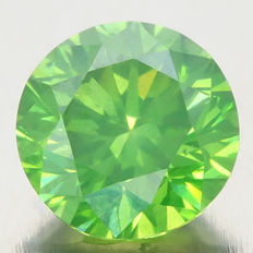 1.11 ct Round Brilliant Fancy Intense Yellowish Green Diamond - SI 2