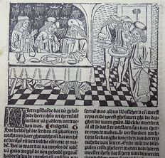 Master of Delft - Incunabula woodcut leaf from Vitae Christie with woodcuts and woodcut initial - Christ Fasting ; Christ refusing to wash his hands - 1488