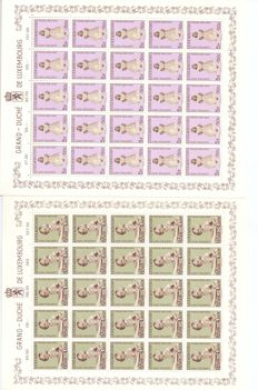 "Luxembourg 1960 –  Series ""Caritas"" 1960 in Complete Sheets 5 x 5 Stamps – Michel 631/636"