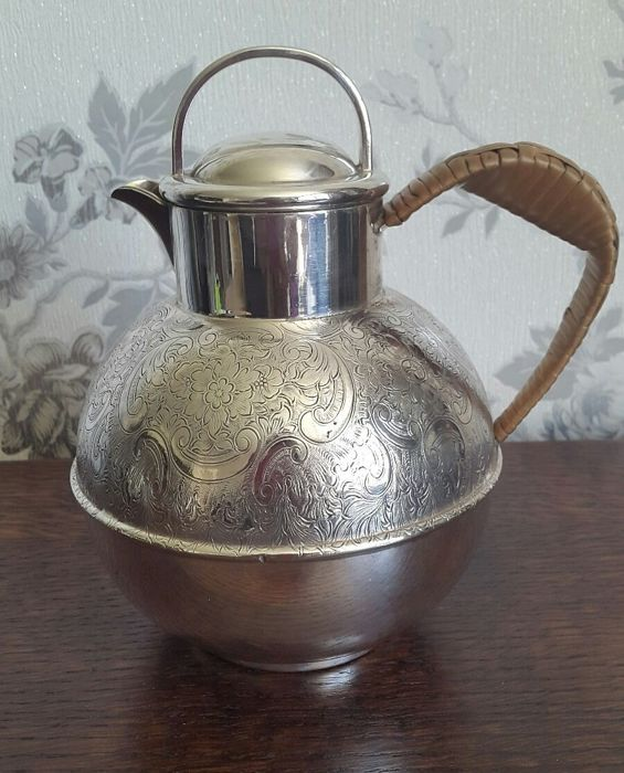 Large, finely decorated, silver plated Teapot with wicker handle and finial, marked by Barker Brothers