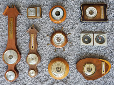 Collection of 8 barometers and 1 hygrometer/thermometer