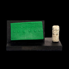 Faience Cylinder Seal, Mesopotamia, 2.1 cm L