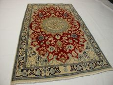 Hand-knotted original Persian carpet Oriental Nain approx. 140 x 92 cm. Good condition cork with silk content