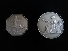 France – Lot of 2 medals 'Chambre de Commerce de Lyon' & 'Fédération Habillement' – Silver