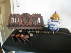 Lot of vintage pipes with old pipe holder and tobacco box and albast pipe.