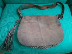 A large leather hunting haversack